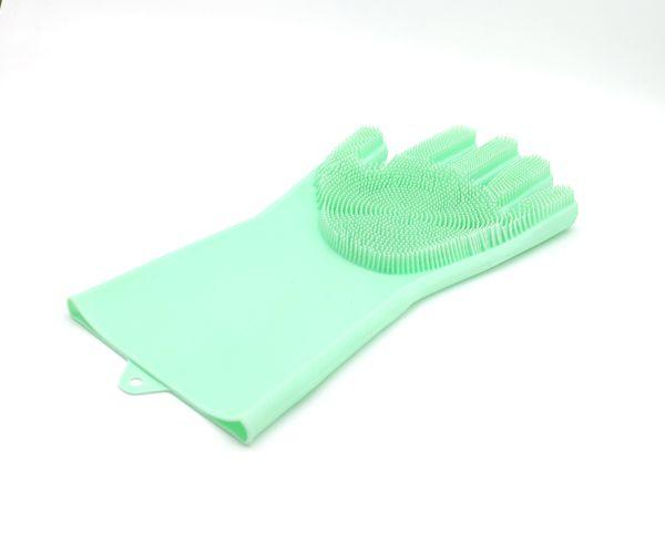 硅胶洗碗手套带刷毛家务清洁洗菜手套