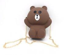 卡通小熊硅胶斜挎包五金时尚链条包包